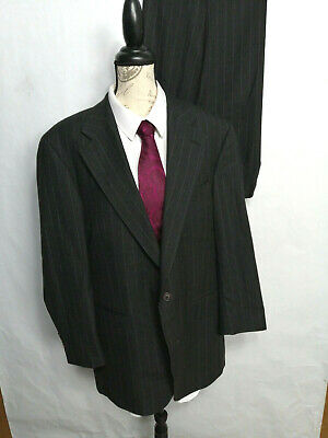 Chaps Ralph Lauren Mens 42R Suit 100% Wool Charcoal Pinstripe Pleat Pants 36x29