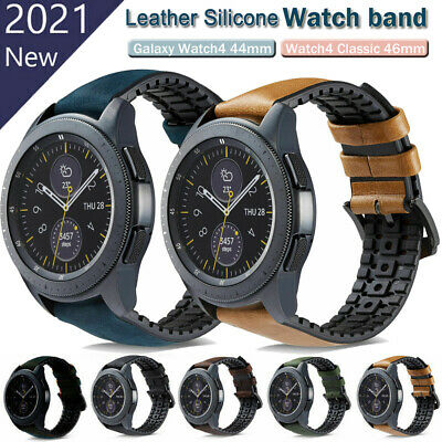 For Samsung Galaxy Watch 42mm / 46mm Genuine Leather & Silicone Watch Band Strap