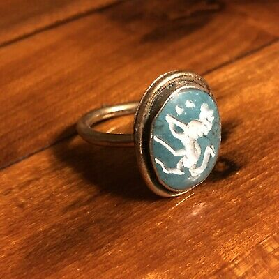 Ancient Islamic Style Blue Stone Intaglio Middle Eastern Ring Medieval Ottoman