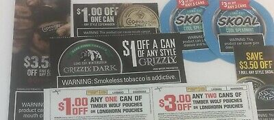 Tobacco Coupons $19.50 Value 8 Coupons Skoal Copenhagen Timber Longhorn Grizzly