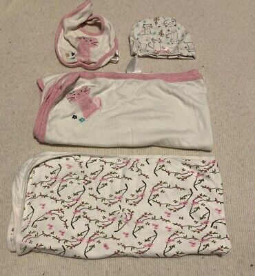 Baby Girl Jersey Wraps Swaddles Or Blankets One With Matching Bib And Hat