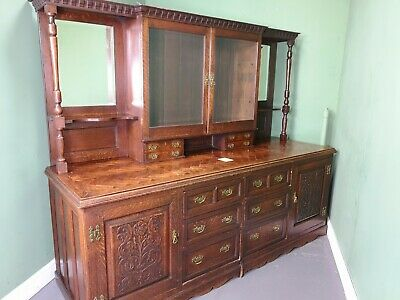An Antique Victorian Solid Oak Parquetry Dresser Sideboard ~Can Deliver~