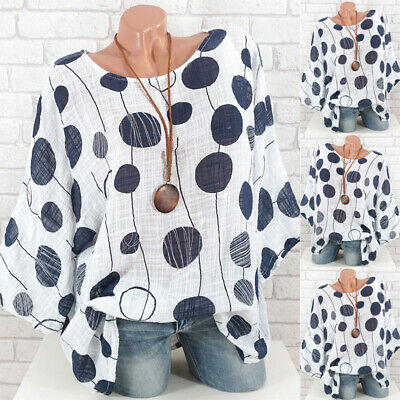 Womens Batwing Short Sleeve T-shirt Tops Ladies Summer Loose Spotted Blouse UK