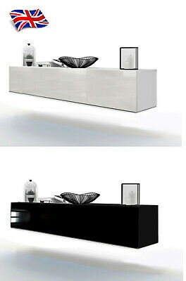 Floating Wall Mounted Tv Cabinet Tv Unit Cupboard All High Gloss White Black