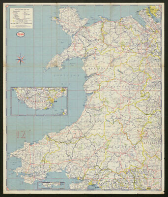 First Series Esso Road Map No 4 Wales and Midlands. ESSO c1950 old vintage