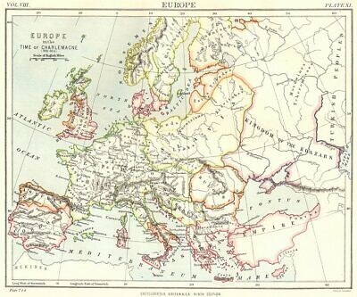 EUROPE. in the time of Charlemagne (768- 814) . Britannica 9th edition 1898 map