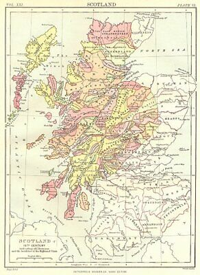 16TH CENTURY SCOTLAND. Showing old divisions localities Highland Clans. 1898 map