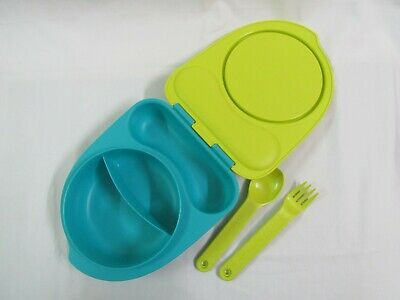 Tupperware Kids Divided Dish/Lunch Box -Attractive Lid Incl Forks Holder-Blue