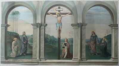19th Century Large Religious Tryptch Christ On The Cross With Followers