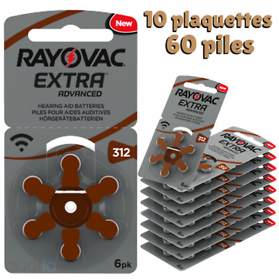 Piles Auditives Rayovac 312 pour Appareil Auditif et Aides Auditives (60 Piles)