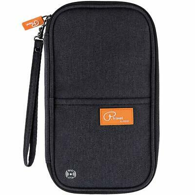 RFID Travel Passport Wallet, Family Passport Holder with Hand Strap  (Black)