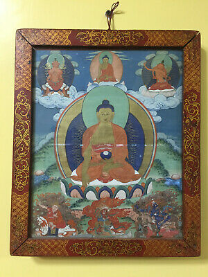 Mongolian ANTIQUE Buddhist OLD Thangka with Gau box 18c-19c (BIG)