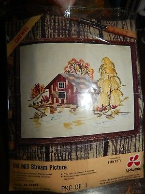 Craft Kit Old Mill Stream Picture Crewel Picture 1976 Leewards 4020467 Country