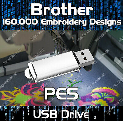 160,000 Brother, Baby Lock, Machine Embroidery design files PES on USB drive