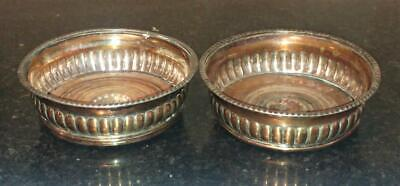 Pair of 18th C Sheffield Silver Plated Gadrooned Fruit Wood Wine Coasters C 1780