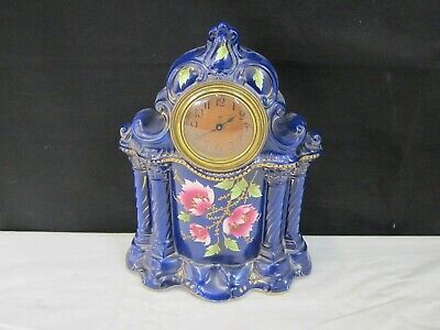Antique Unmarked Porcelain Mantle Clock Not Tested