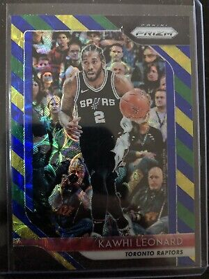 2018-19 Panini Prizm Choice Kawhi Leonard Blue Yellow and Green Prizm MVP