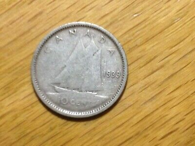 1939 Canada 10 Cent  Silver Coin  Canadian