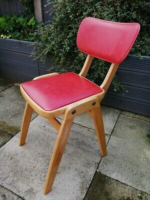 Original Mid-Century Beech Ben Style Stacking Chair Red Three available