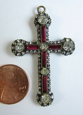 Antique Victorian Beautiful Red/Clear Crystal/Glass Cross Pendant Sparkly Paste