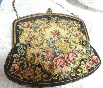 Antique Micro Petit Point Needlepoint Tapestry Floral Evening Bag Purse Austria