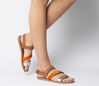 Womens Office Sweet Heart Asymmetric Sandals Tan Leather Orange Gold Mix Sandals