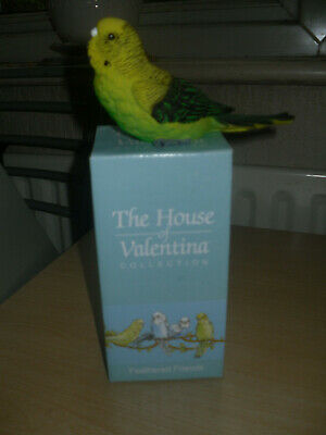 HOUSE OF VALENTINA COLLECTION - Detailed Green Budgie/Budgerigar Ornament - BNIB