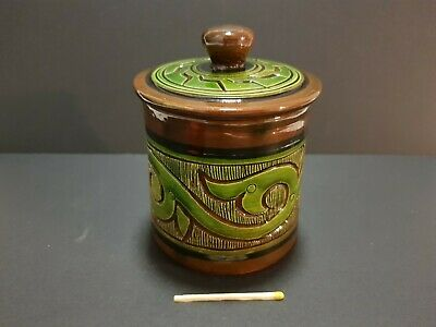Vintage pottery glazed jar ginger tobacco Arts & Crafts motif style hand crafted