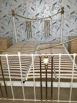King size Victorian Style White/ Brass Heavy Wrought Iron Bed Frame