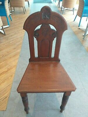 VICTORIAN c.1870 mahogany HALL CHAIR good unrestored  original condition ANTIQUE