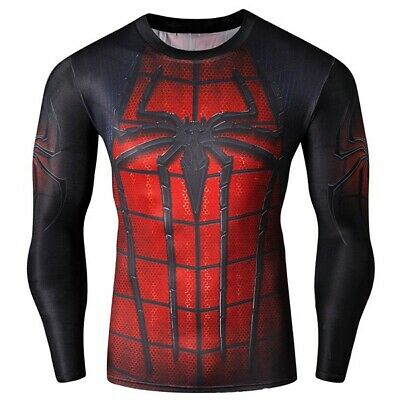 Cool 3D Spider-Man Print Hit Color Skinny Quick-Dry Round Neck Long Sleeves