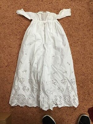 Antique Lace Embroidered Baby's Christening Gown