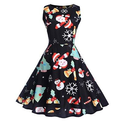 Vintage Christmas Printed High Waist Dress
