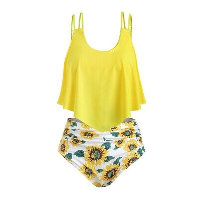 Sunflower Contrast Overlay Plus Size Tankini Set