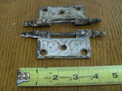 2 Half-Hinges -  Design Embossed Butt Hinges Old, Antique, Vintage (90612-13)
