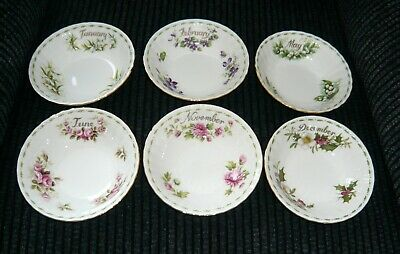 Royal Albert Flower of the Month Small Cereal Bowls x 6 (2nd Qual)
