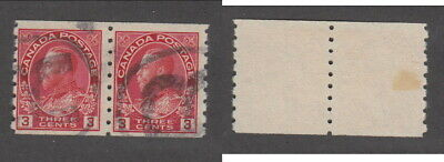 Used Canada 3 Cent Perf 8 Vertically KGV Admiral Coil Pair #130 (Lot #15490)