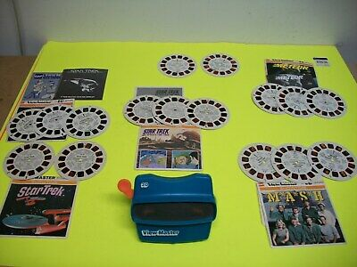 Vintage Blue Viewmaster 3D View-Master Viewer Toy With Star Trek Movies Etc.