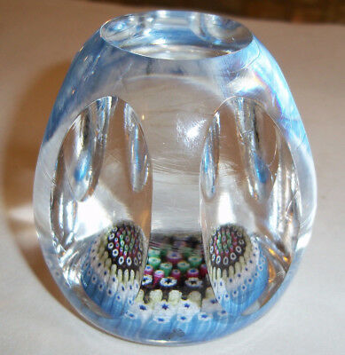 WHITEFRIARS PAPERWEIGHT MILLEFIORI FACET CUT PAPER WEIGHT Monk & DATE CANE