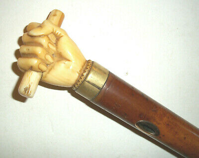Rare Antique  Walking Stick With Carved  Hand /  Fist  Handle