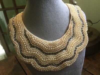Vintage faux pearl & silver glass beads on satin hand beaded collar