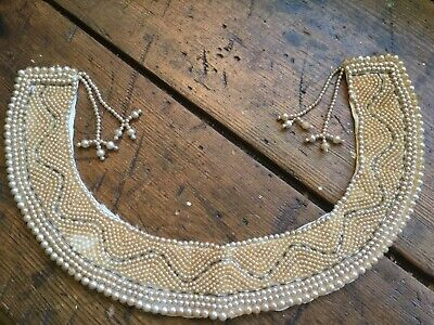 Vintage made in Japan faux pearl~silver glass beads on satin hand beaded collar