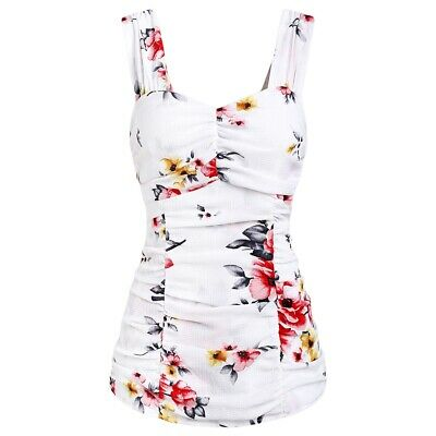 Women Tank Top Ruched Flower Sweetheart Neck