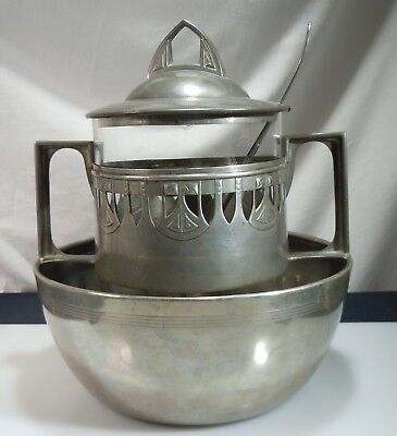 Jugendstil Art Nouveau Arts & Crafts Pewter and Glass Punch Bowl, Ladle