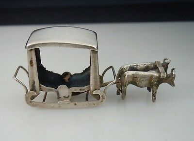 Vintage Antique Silver Miniature Ox Drawn Sled Carriage 51312