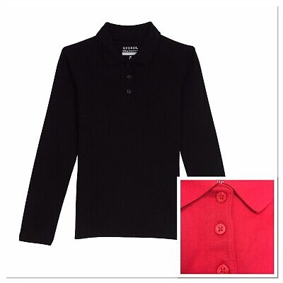 George Toddler Girls School Uniform Long Sleeve Polo Shirt RED 2T/3T