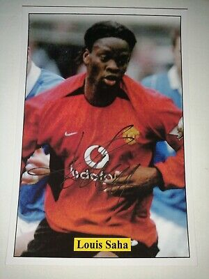 Louis Saha Hand Signed Autograph 6X4 Player Photo Manchester United