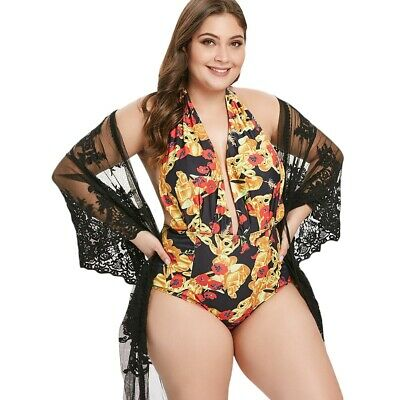 Plus Size Printed Halter Backless Swimsuit