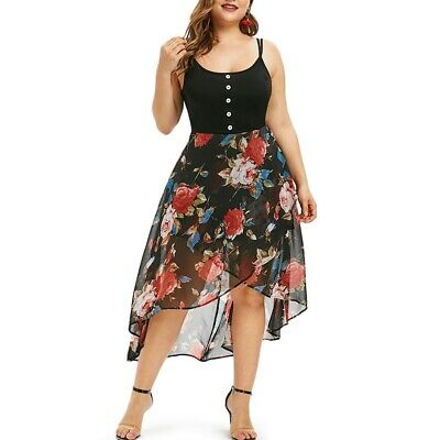 Floral Overlay High Low Plus Size Dress