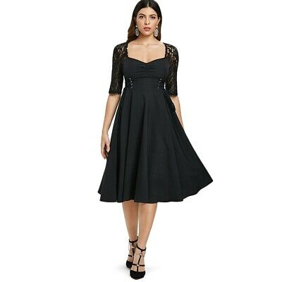 Lace Panel Ruched Bust Little Black Dress